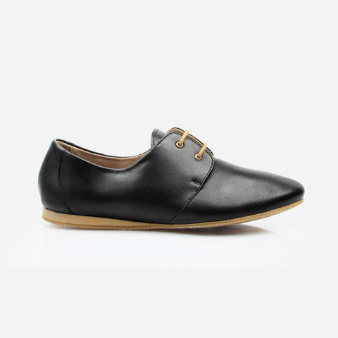 The Eyelet Oxford - black leather womens oxford round toe - Poppy Barley