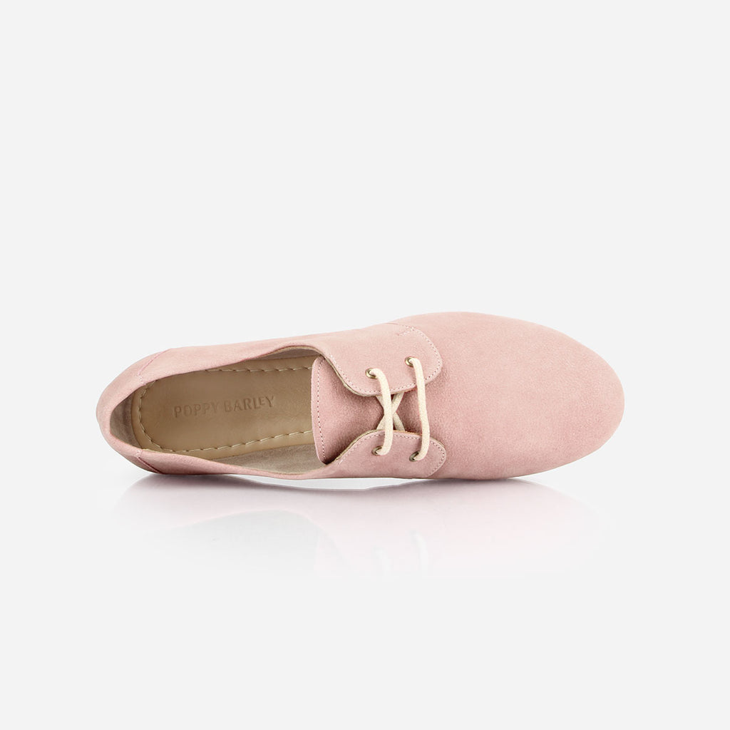The Eyelet Oxford -pink nubuck leather causal laced womens shoe - Poppy Barley
