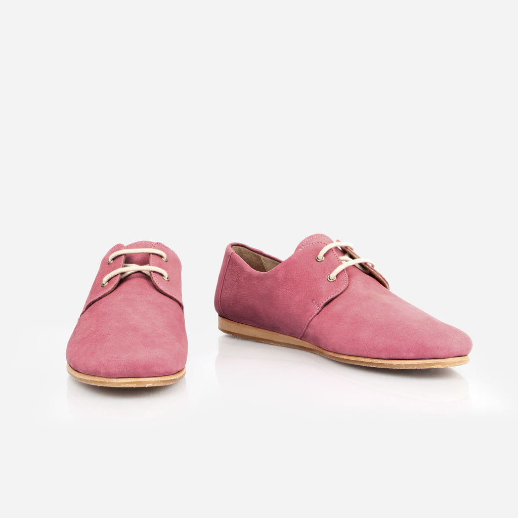 The Eyelet Oxford - pink nubuck causal laced womens shoe - Poppy Barley