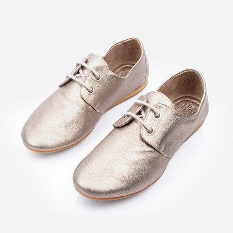 The Eyelet Oxford - gold leather womens oxford round toe - Poppy Barley