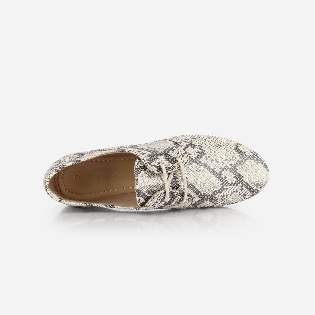 The Eyelet Oxford - snake print leather causal laced womens shoe - Poppy Barley