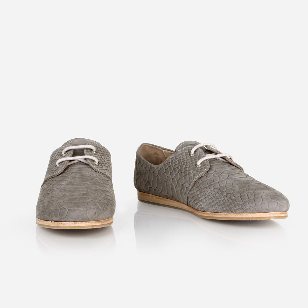 The Eyelet Oxford - grey textured nubuck leather causal laced womens shoe - Poppy Barley