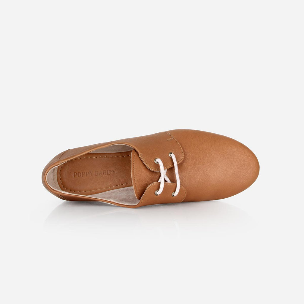 The Eyelet Oxford -tan leather causal laced womens shoe - Poppy Barley