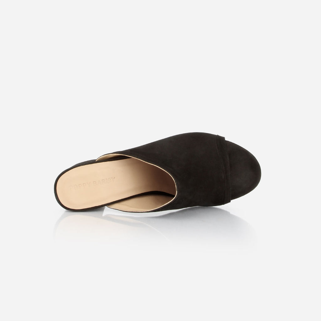 The Ferryland Peep Toe - black nubuck block heeled womens sandal - Poppy Barley