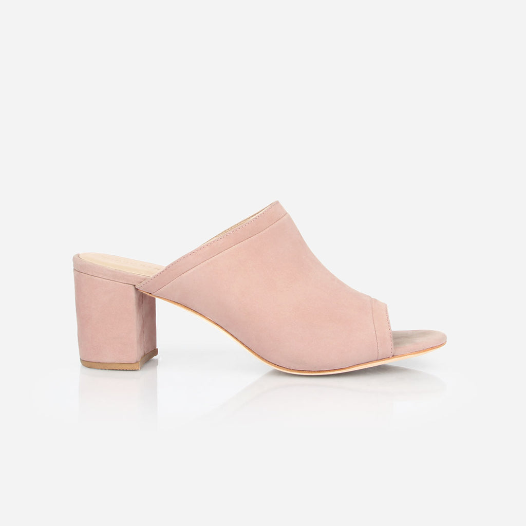 The Ferryland Peep Toe - light pink nubuck block heeled womens sandal - Poppy Barley