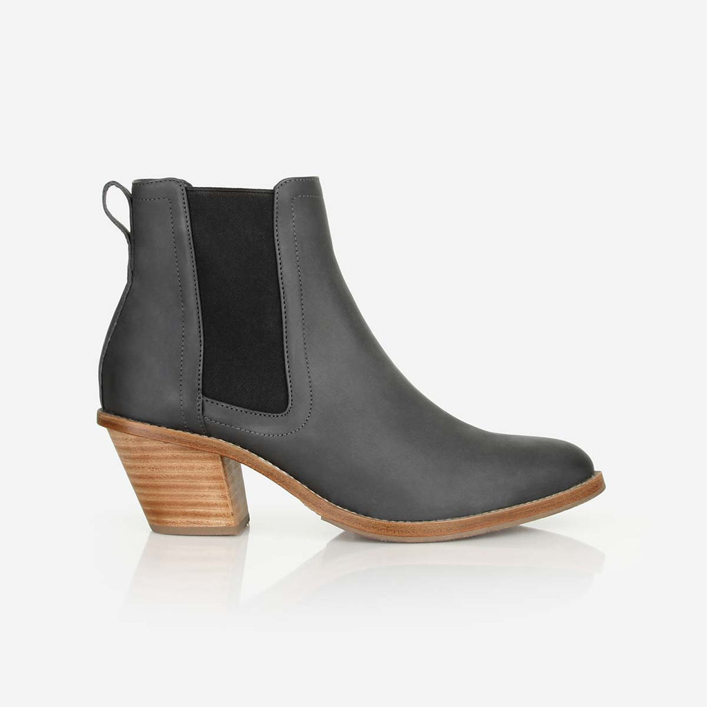 The Heeled Chelsea Boot - Stacked Heel dark grey Leather Chelsea Ankle Boot with Elastic Sides - Poppy Barley