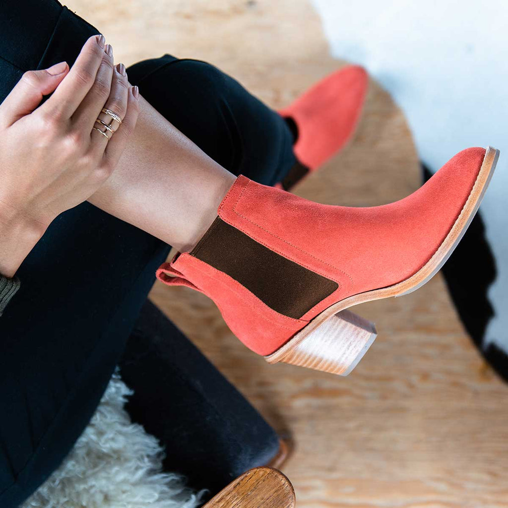 The Heeled Chelsea Boot - red suede chelsea boot with block heel - Poppy Barley