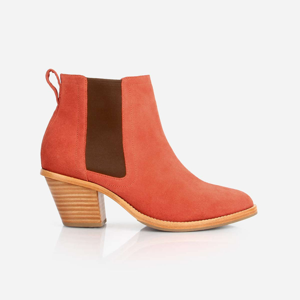 The Heeled Chelsea Boot Rust Suede Made To Order