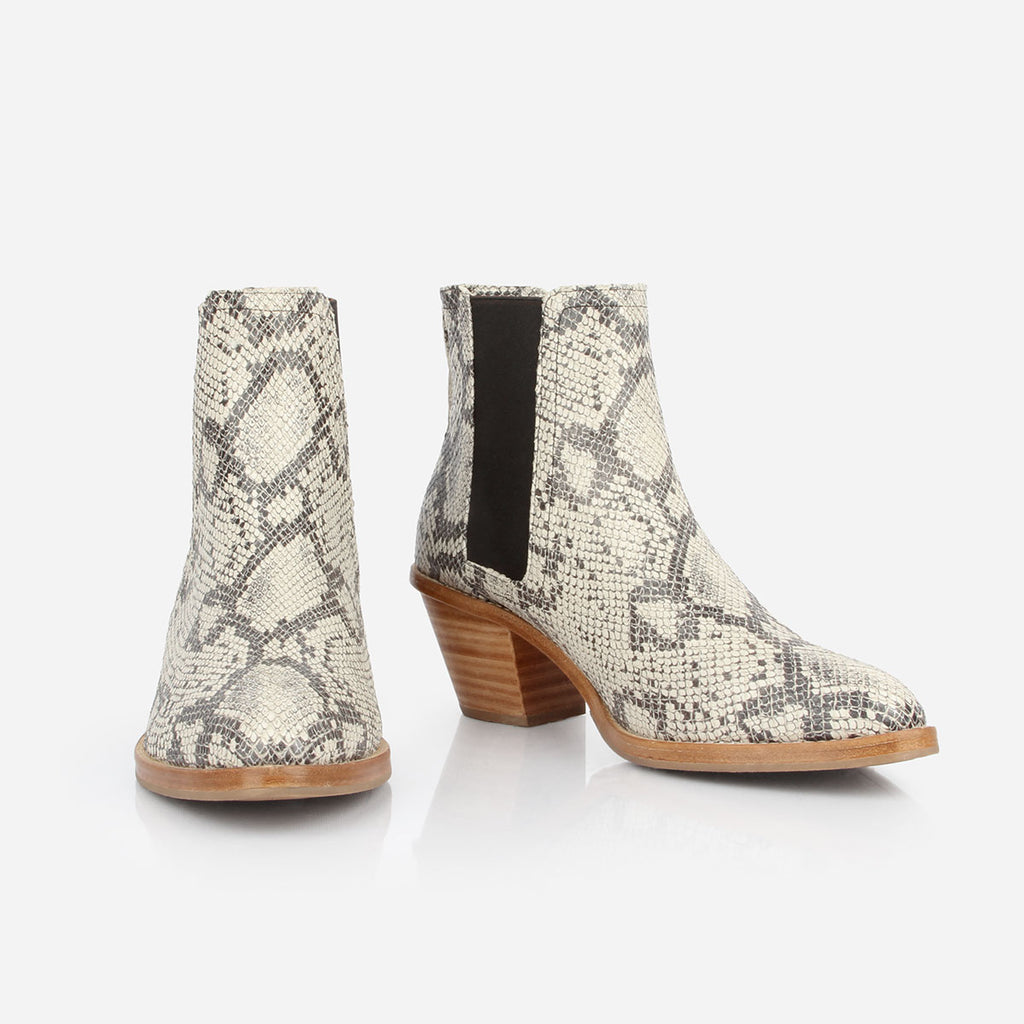 The Heeled Chelsea Boot - snake print leather chelsea boot with block heel - Poppy Barley