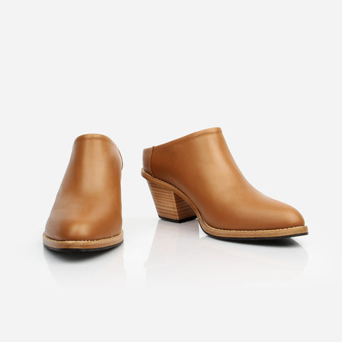 The Heeled Mule - brown leather closed-toe mule with stacked heel - Poppy Barley
