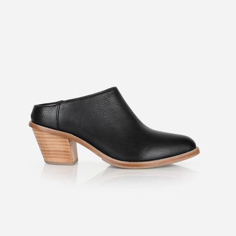 The Heeled Mule Black Pebble Made To Order