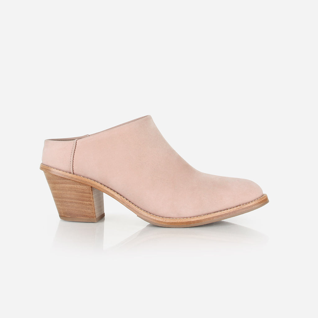 The Heeled Mule Blush Nubuck Made To Order