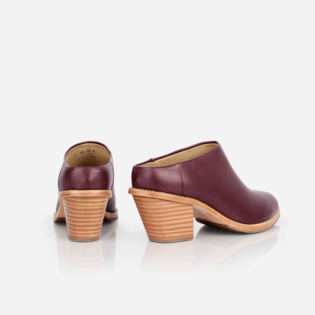 The Heeled Mule Bordeaux Pebble Ready to Wear