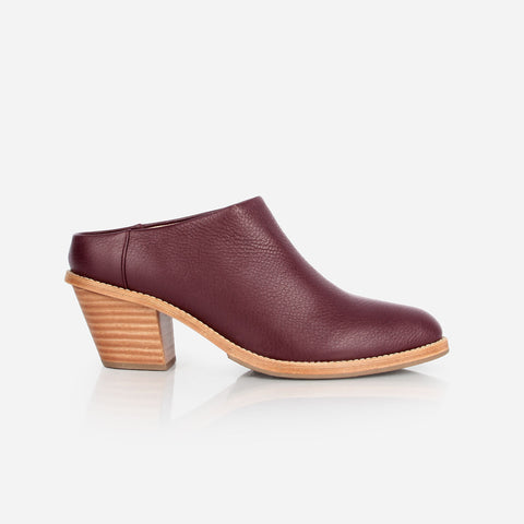 The Heeled Mule Bordeaux Pebble Made To Order