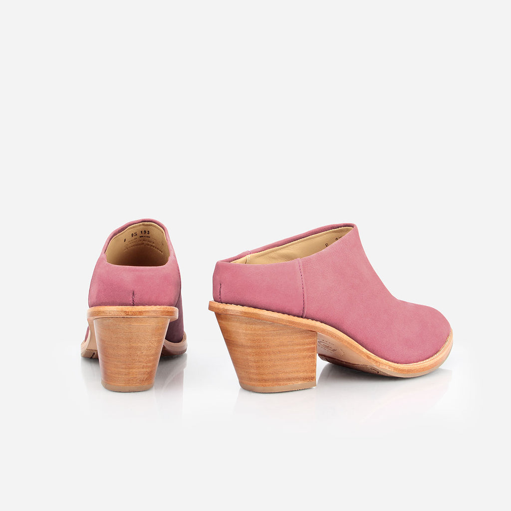 The Heeled Mule - pink suede closed-toe mule with stacked heel - Poppy Barley