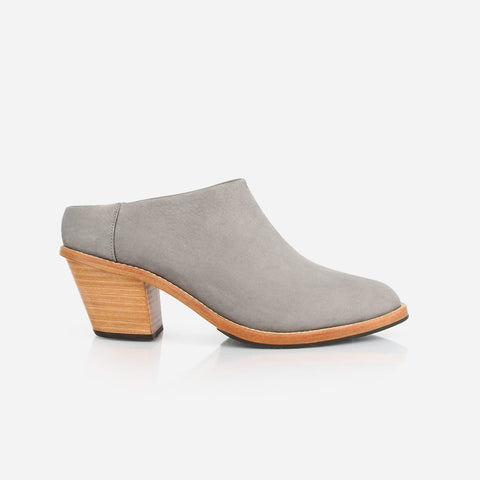 The Heeled Mule -  grey nubuck womens heel - Poppy Barley