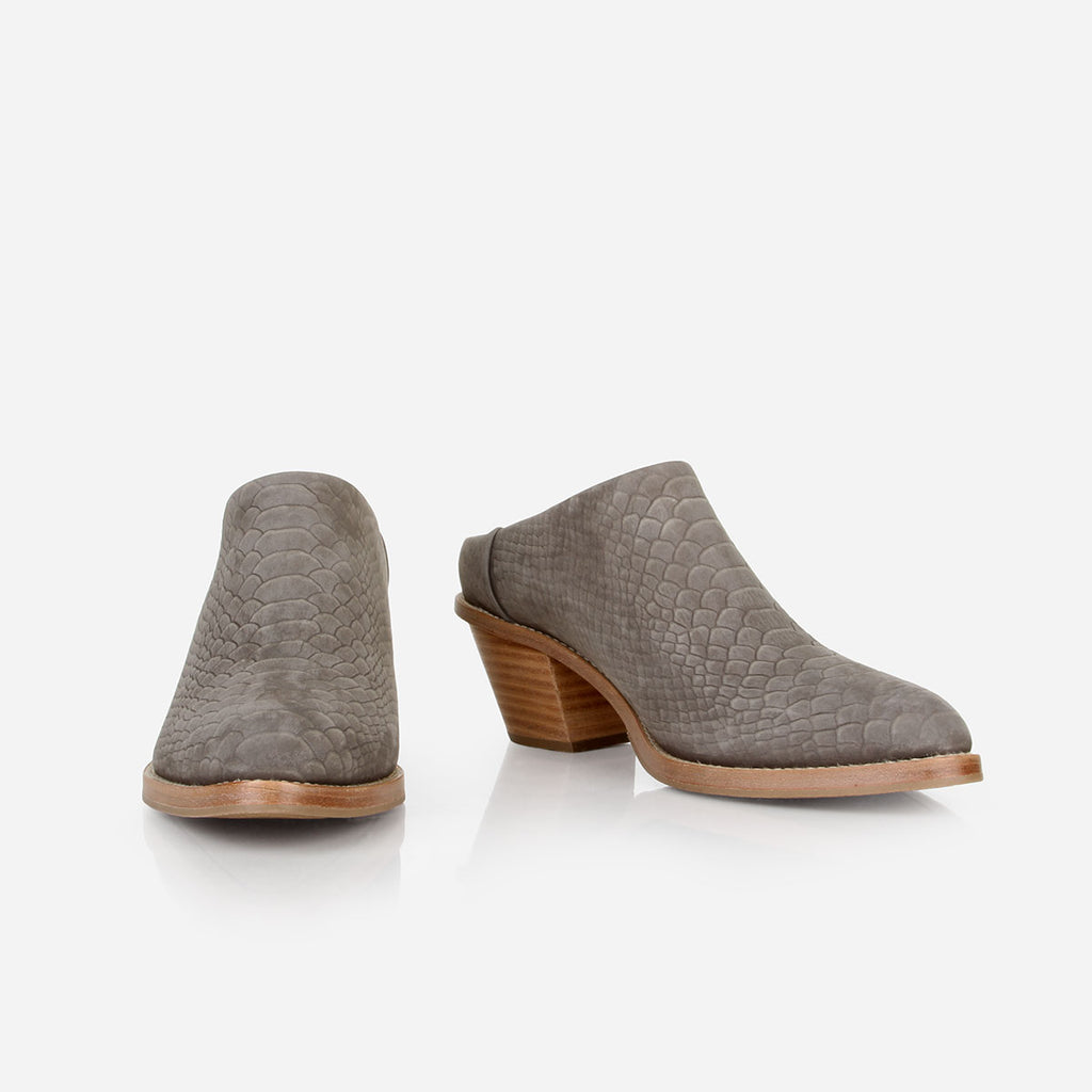 The Heeled Mule - grey python textured suede closed-toe mule with stacked heel - Poppy Barley
