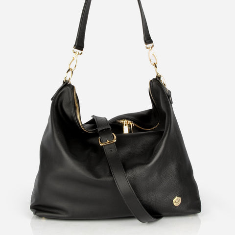 The Hobo Tote - black leather large tote bag - Poppy Barley