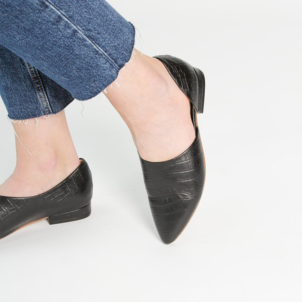 The Peek-A-Boo Flat Black Croc Ready To Wear