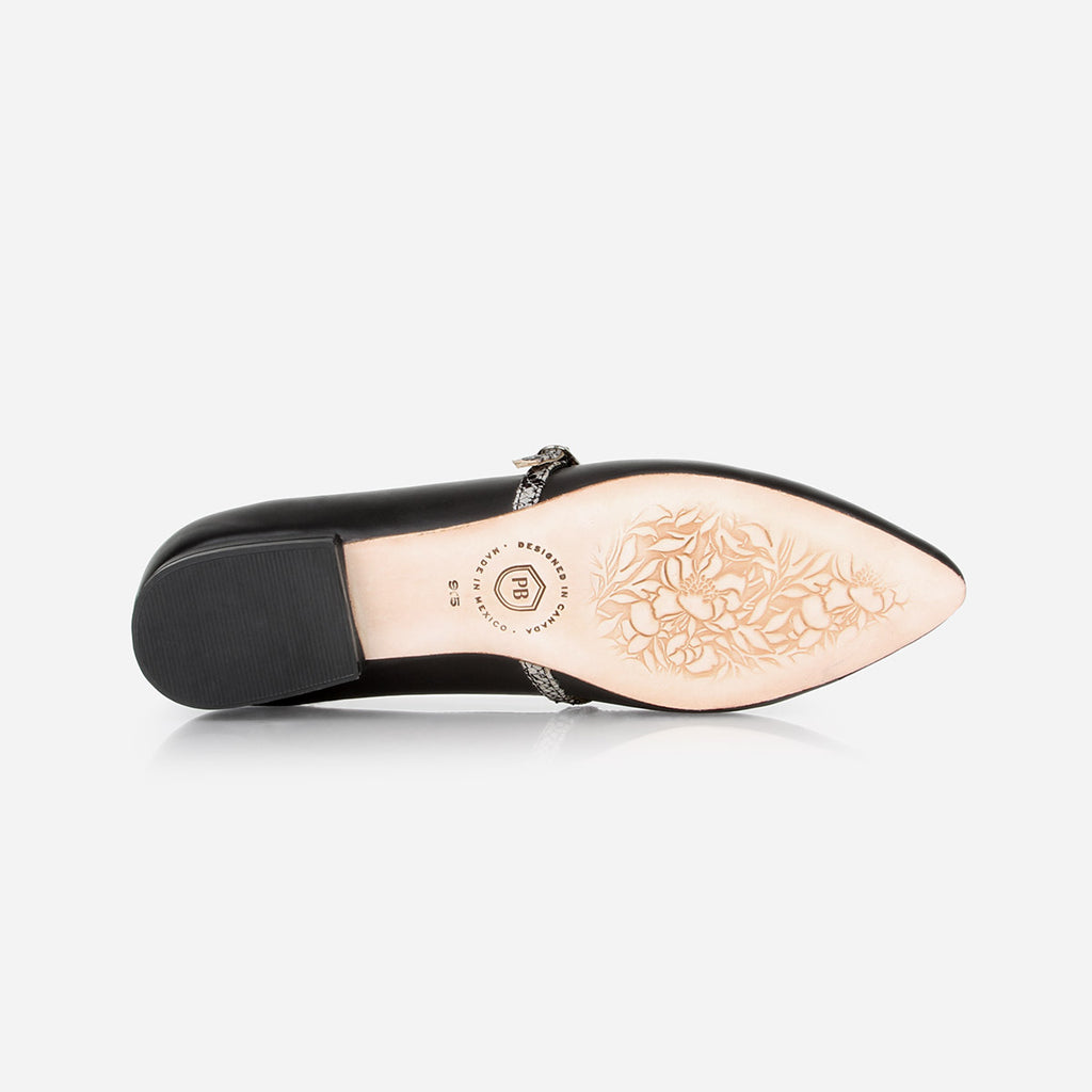 The Itty-Bitty Buckle Flat  - black leather womens snake pattern elasticized cross-strap flat - Poppy Barley