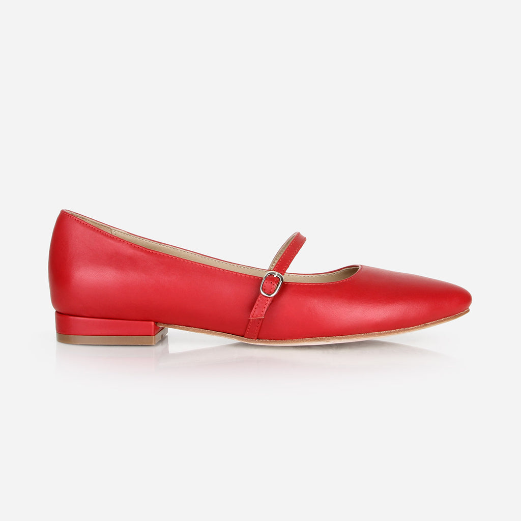 The Itty-Bitty Buckle Flat  - red leather womens elasticized cross-strap flat - Poppy BarleyThe Itty-Bitty Buckle Flat  - red leather womens elasticized cross-strap flat - Poppy Barley