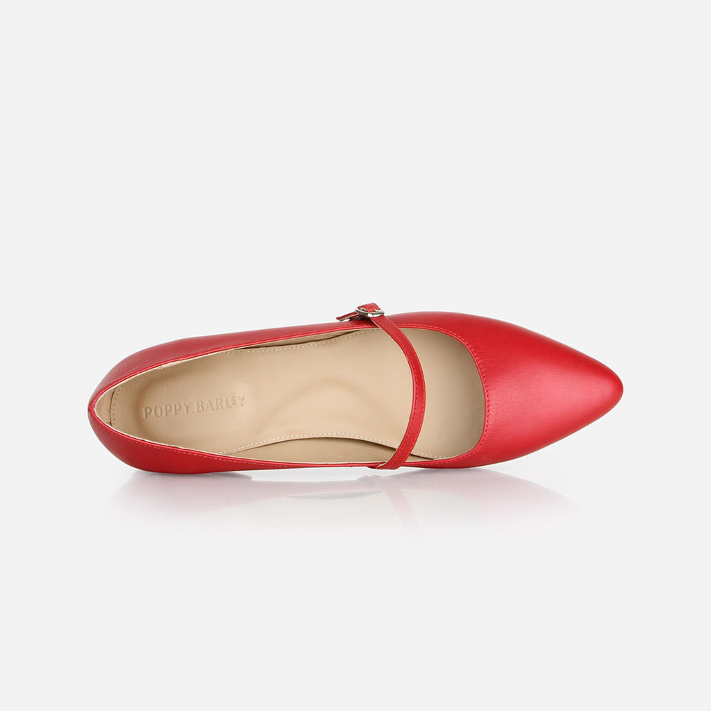 The Itty-Bitty Buckle Flat  - red leather womens elasticized cross-strap flat - Poppy Barley