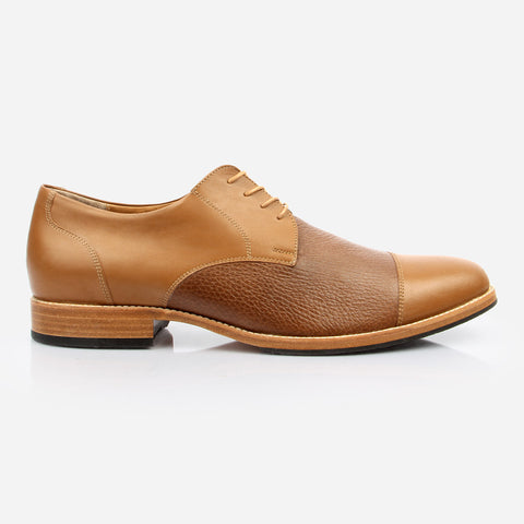 The Jasper Derby - tan calf leather and deer leather men's derby dress shoes - Poppy Barley