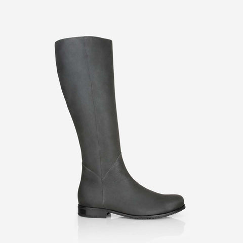 The Kensington Boot -  grey leather tall boot - Poppy Barley