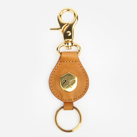 The Keychain - caramel leather keychain with gold hardware - Poppy Barley