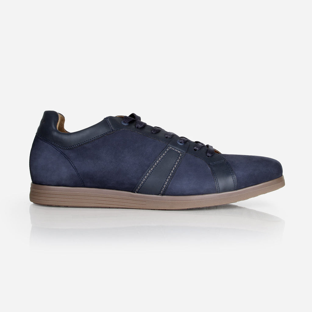 The Kingston Sneaker - navy suede and smooth leather mens causal sneaker - Poppy Barley
