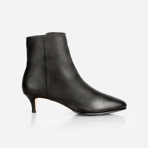 The Kitten Heel Bootie - black leather 2 inch heeled women's ankle boot - Poppy Barley