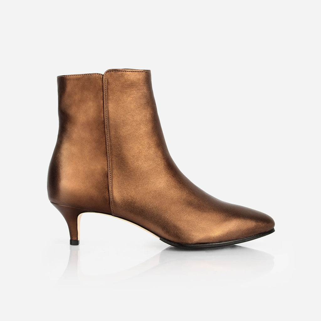 The Kitten Heel Bootie - Metallic bronze leather 2 inch heeled women's ankle boot - Poppy Barley