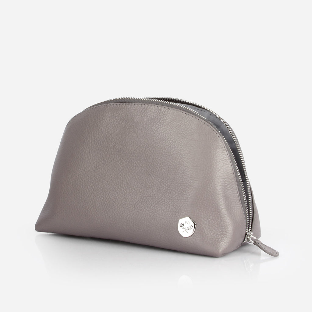 The Large Make-up Bag -  grey pebble leather cosmetics toiletry bag - Poppy Barley