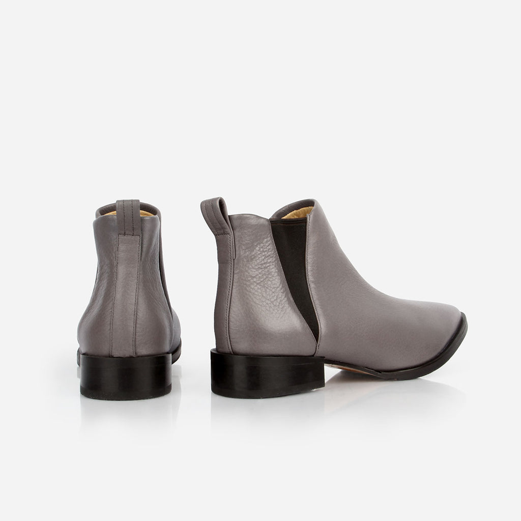 The Low-rise Chelsea Boot - grey leather womens ankle boot with elastic - Poppy Barley