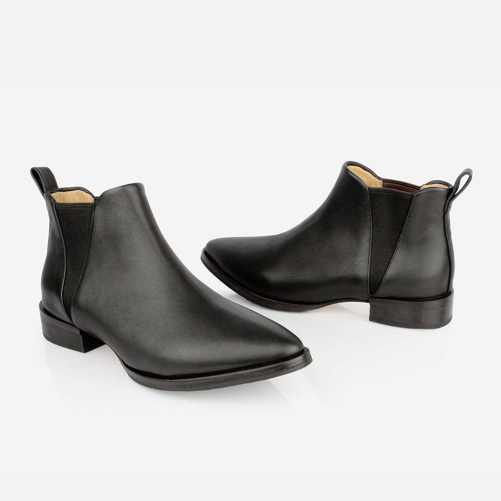 The Low-rise Chelsea - black water resistant leather, woman's ankle boot - Poppy Barley