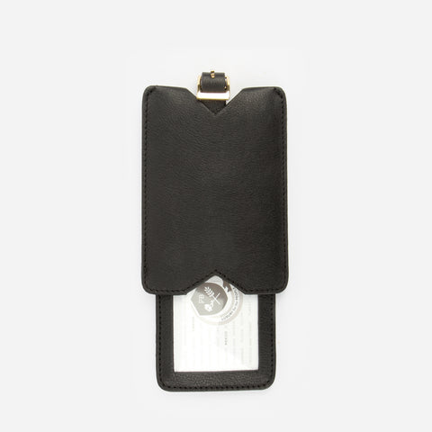 The Luggage Tag - black leather tag with adjustable buckle strap - Poppy Barley