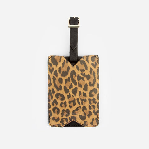 Women's Travel Gift Set -Black  and Leopard Print Leather Luggage Tag and Passport Holder - Poppy Barley