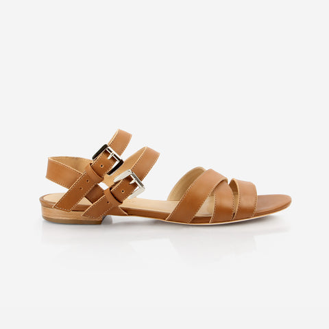 The Maligne Flat Sandal - brown leather womens gladiator sandal - Poppy Barley