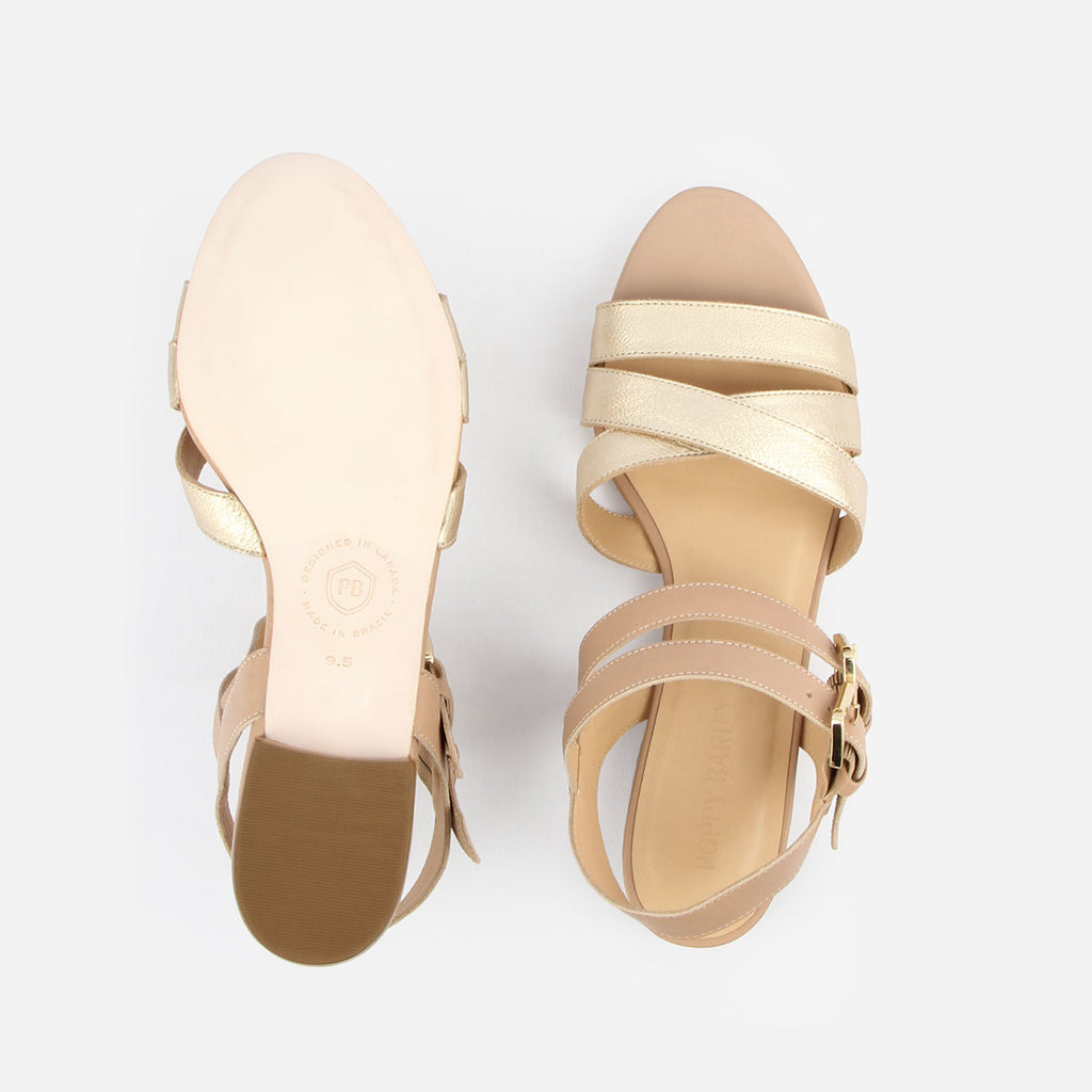 The Maligne Sandal  - gold metallic and nude leather multi-strap womens sandal - Poppy Barley