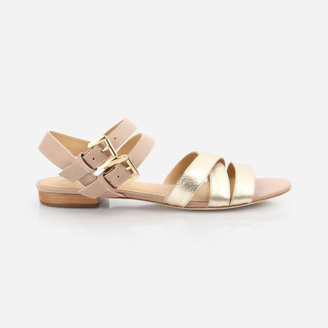 3d760cfe4 The Maligne Sandal - gold metallic and nude leather multi-strap womens  sandal - Poppy ...