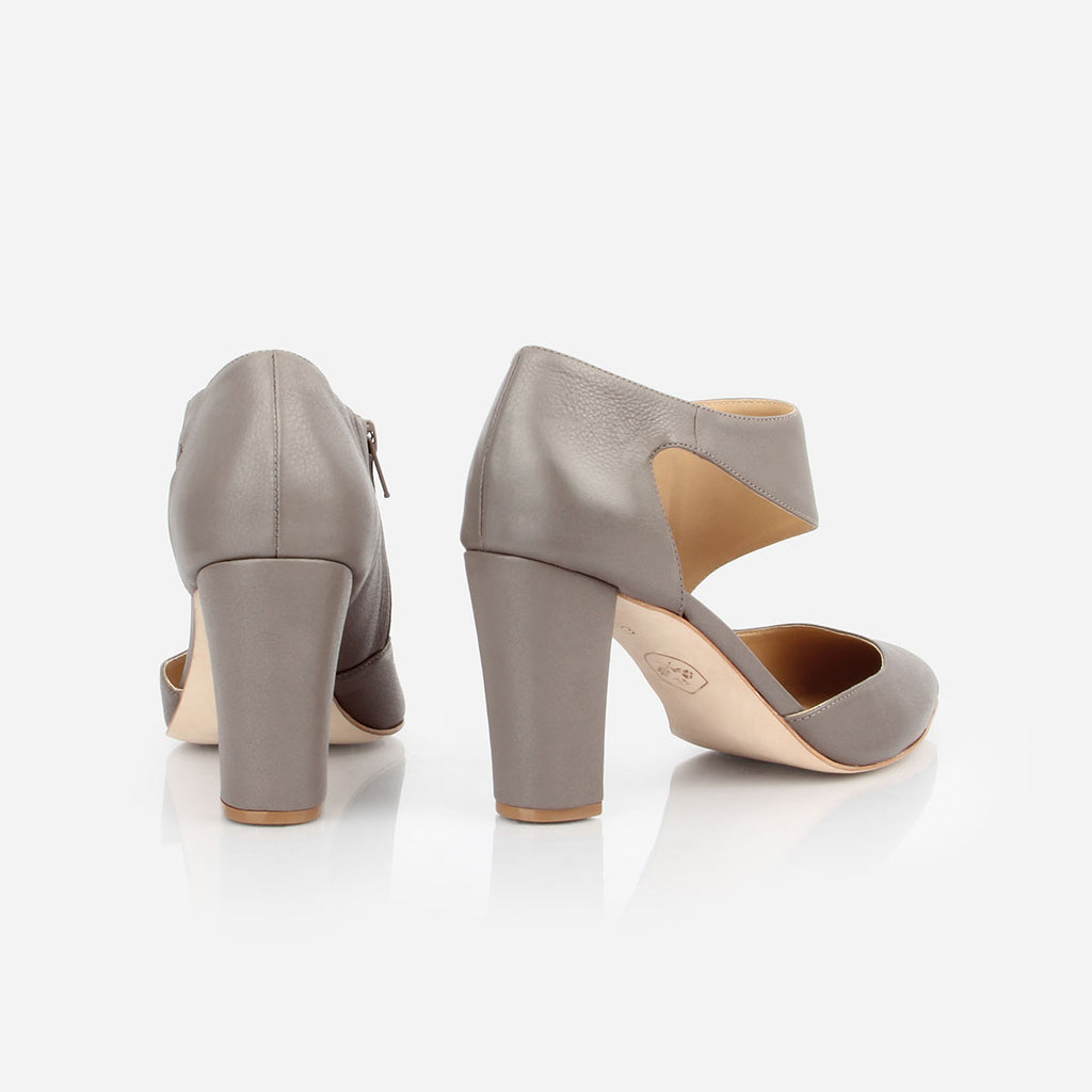 The Meghan Cutout - grey leather women's pointed toe heel - Poppy Barley