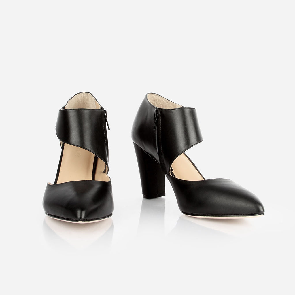 The Meghan Cutout - black leather women's pointed toe heel - Poppy Barley