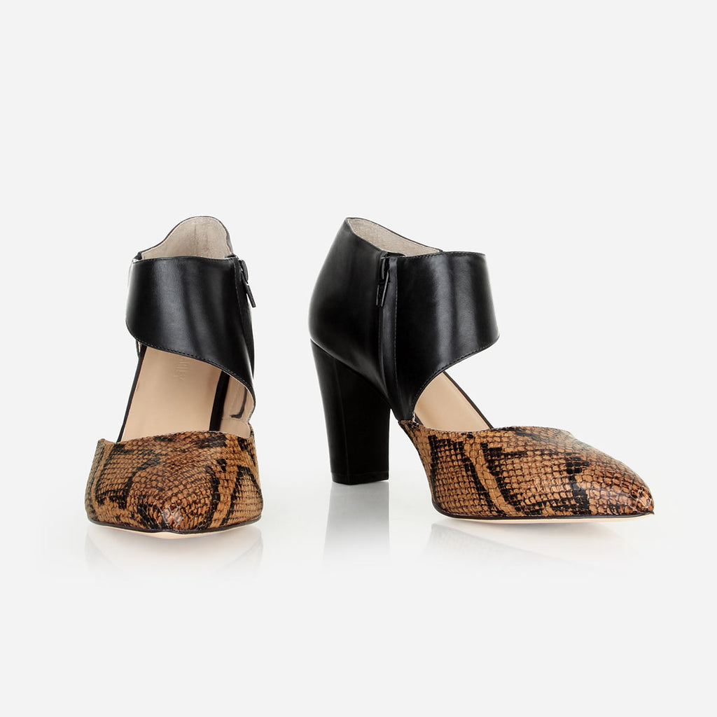 The Meghan Cutout Heel Black / Brown Snake