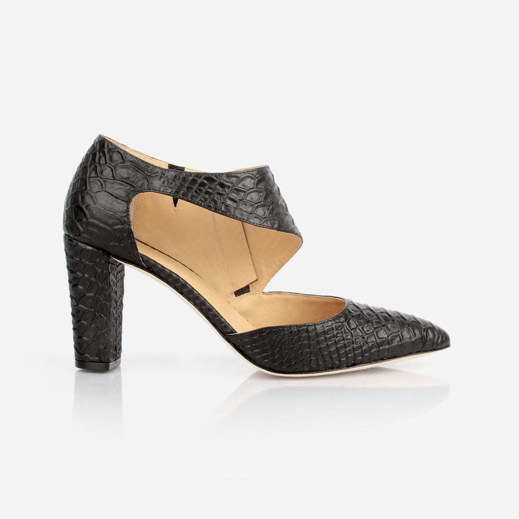 The Meghan Cutout - black textured leather women's pointed toe heel - Poppy Barley