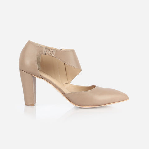 The Meghan Cutout Heel Taupe