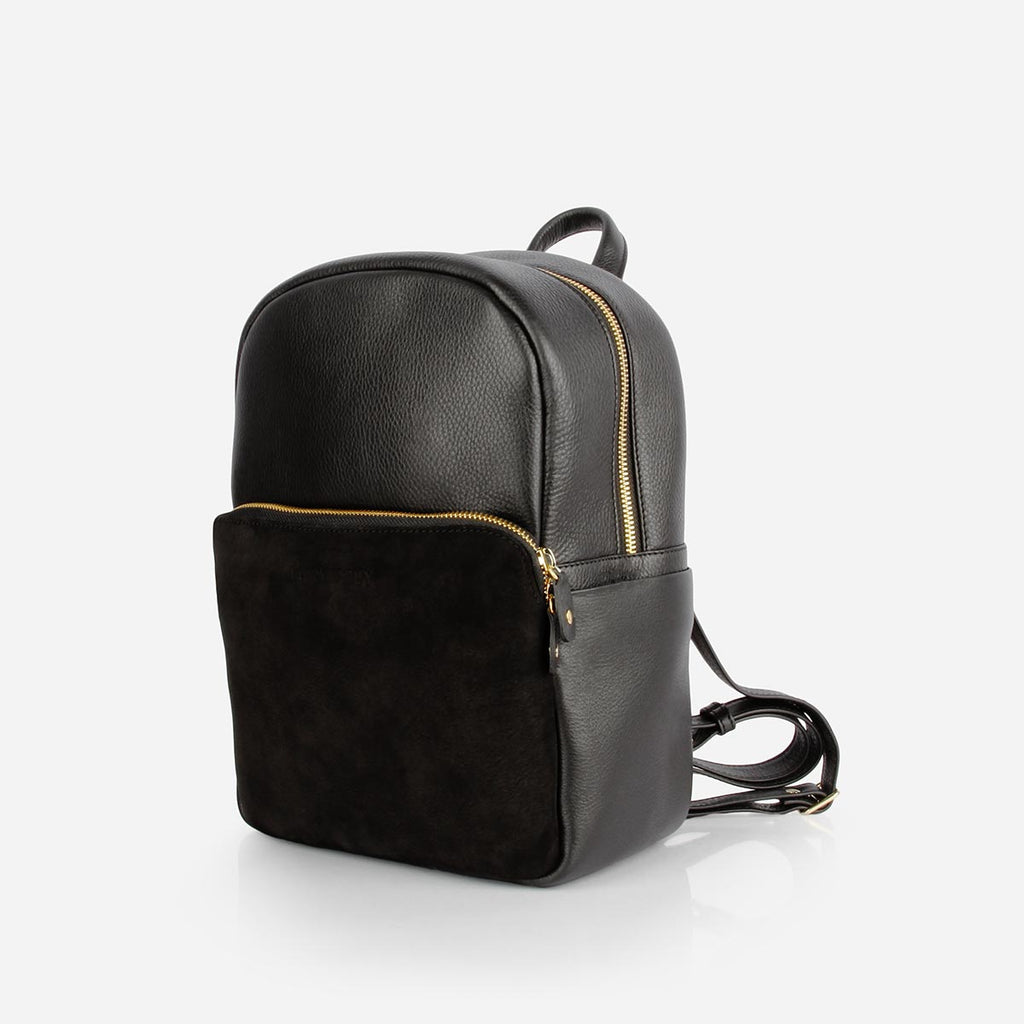 ba1fd2dbff The Mini Backpack -black leather and black nubuck mini backpack - Poppy  Barley