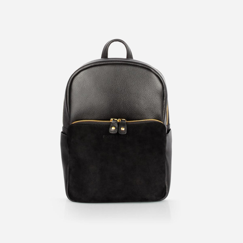 The Mini Backpack -black leather and black nubuck mini backpack - Poppy Barley