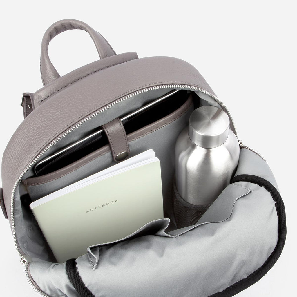 The Mini Backpack -grey pebble leather mini backpack - Poppy Barley