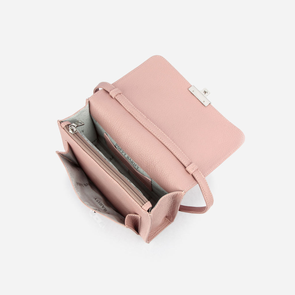 The Mini Shoulder Satchel - light pink leather womens small crossbody purse - Poppy Barley