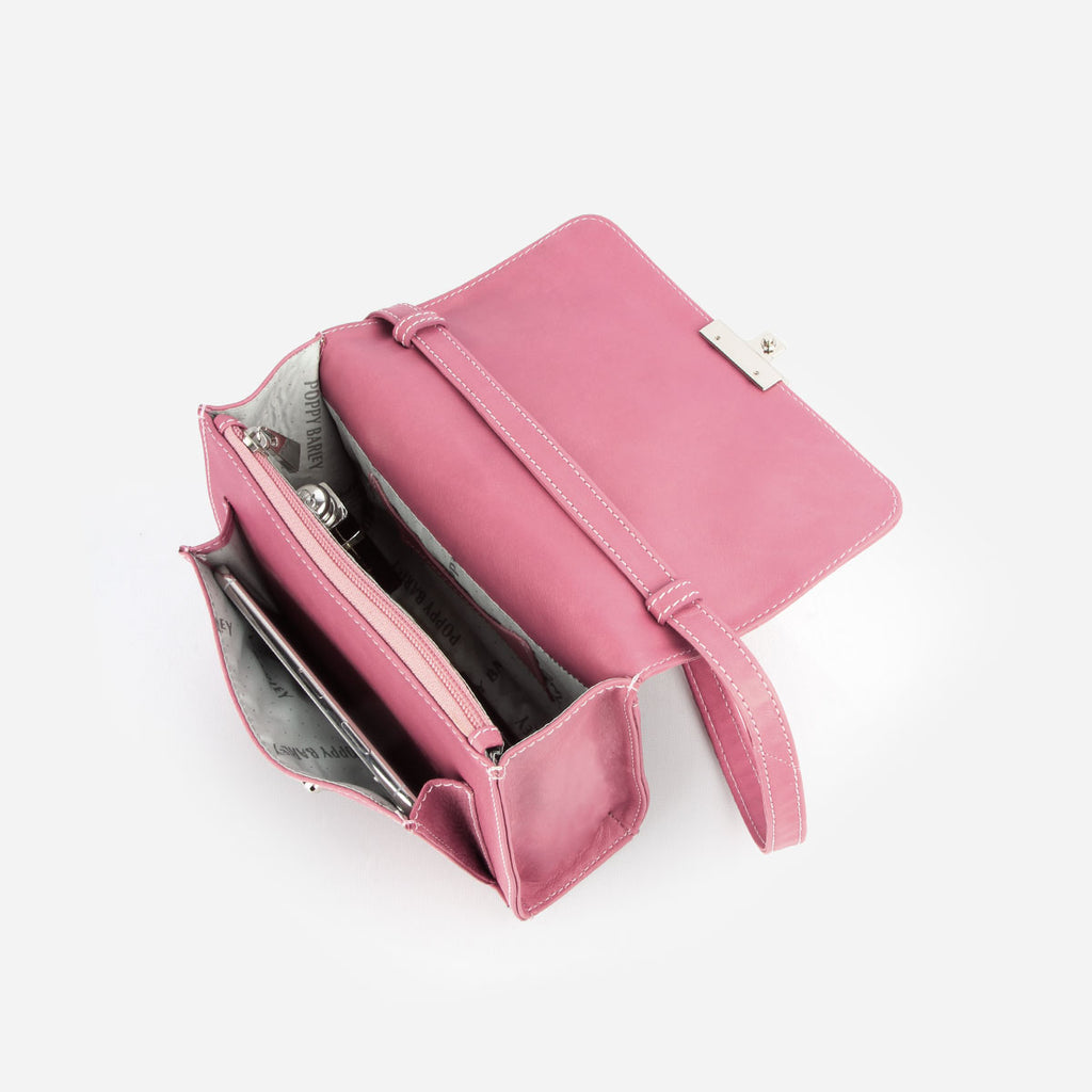 The Mini Shoulder Satchel - pink leather womens small crossbody purse - Poppy Barley